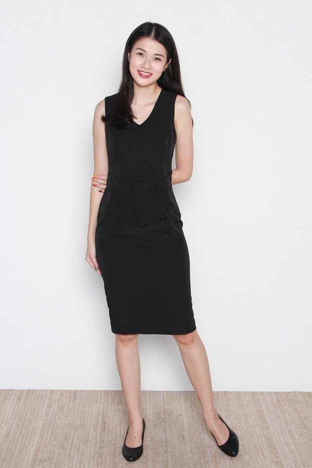 Trinity V-Neck Peplum Dress in Black