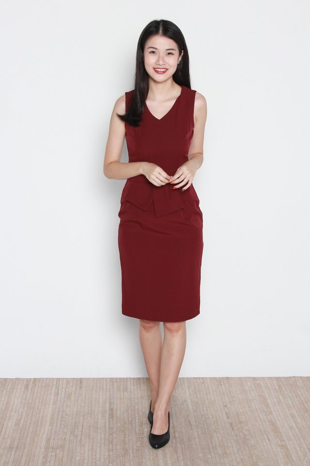 Trinity V-Neck Peplum Dress in Wine