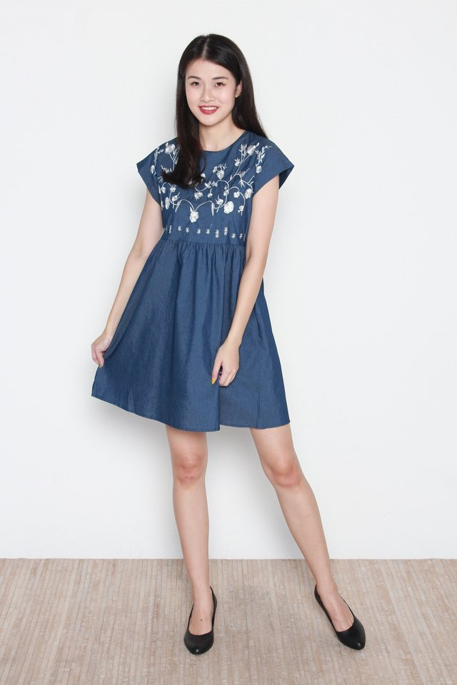 Camille Denim Embroidery Babydoll Dress