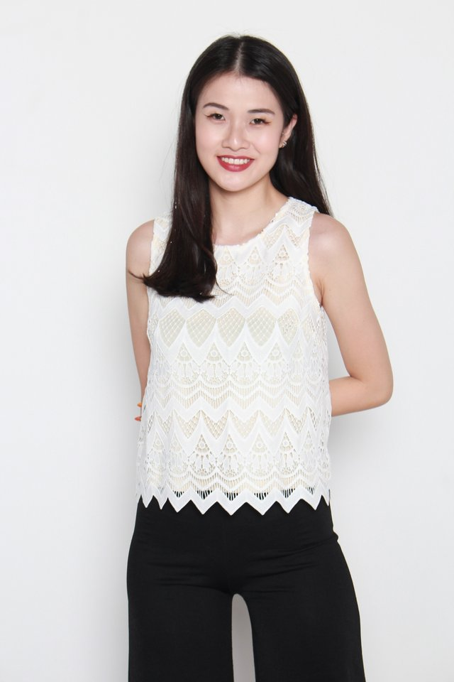 Aylin Crochet Sleeveless Top in White