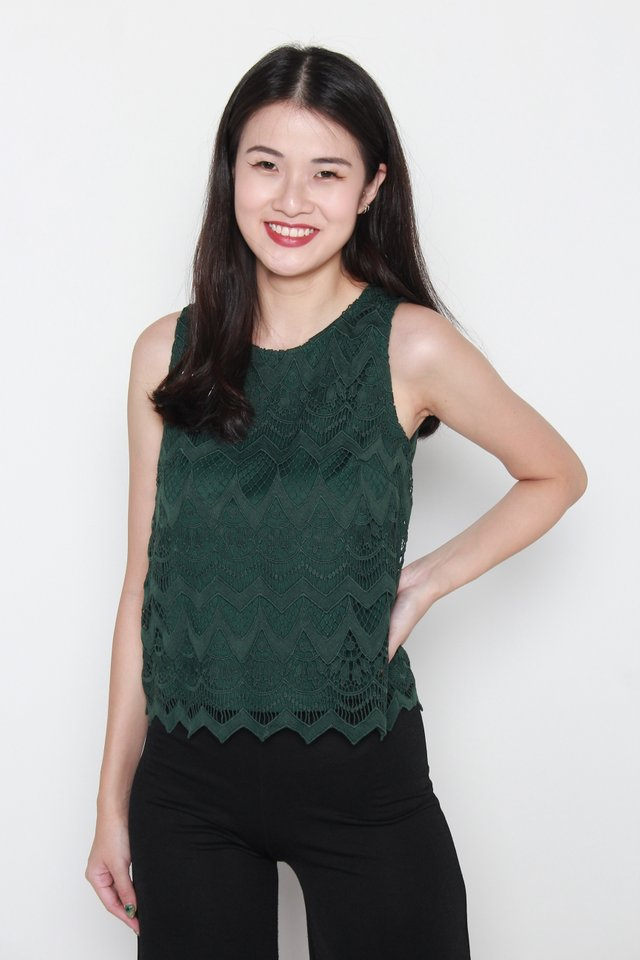 Aylin Crochet Sleeveless Top in Forest Green