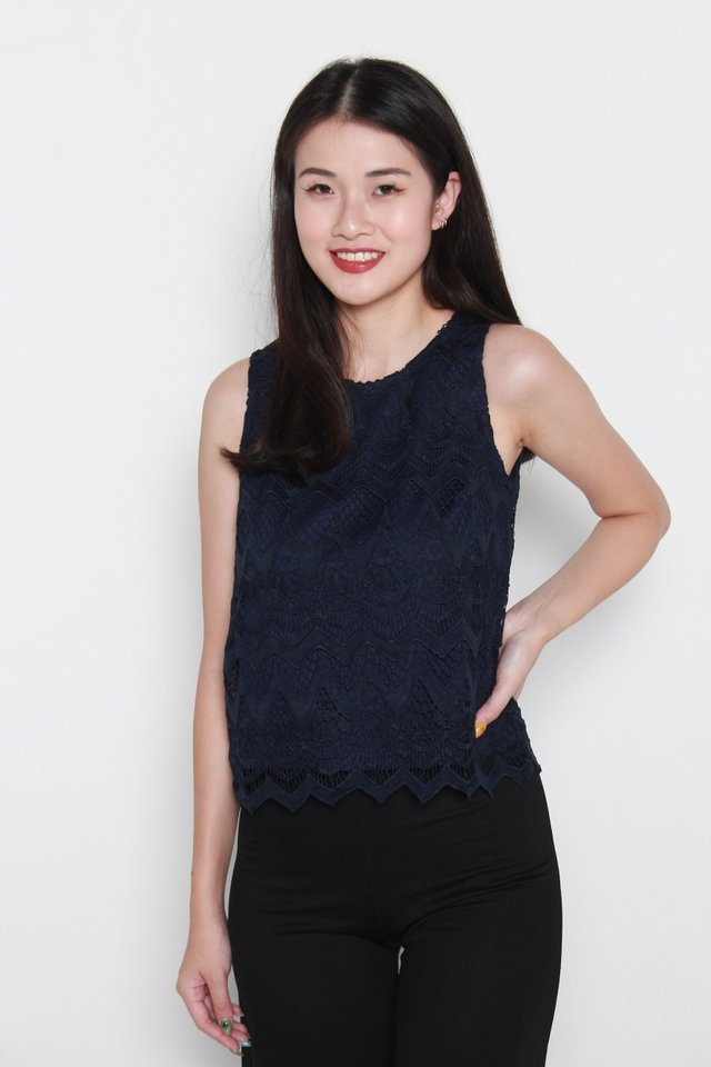 Aylin Crochet Sleeveless Top in Navy Blue