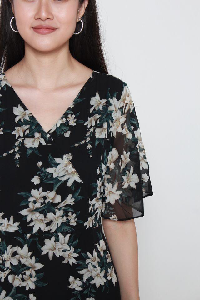 Angeline Floral Print With Flutter Sleeves Dress in Black