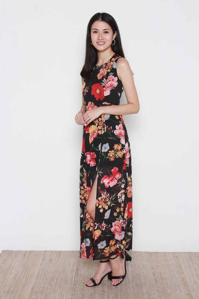 Leain Floral Maxi Dress in Black
