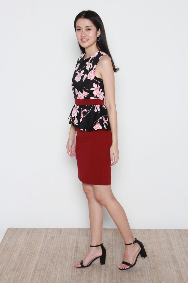 Namiko Floral Peplum Dress (Removable Oriental Collar)
