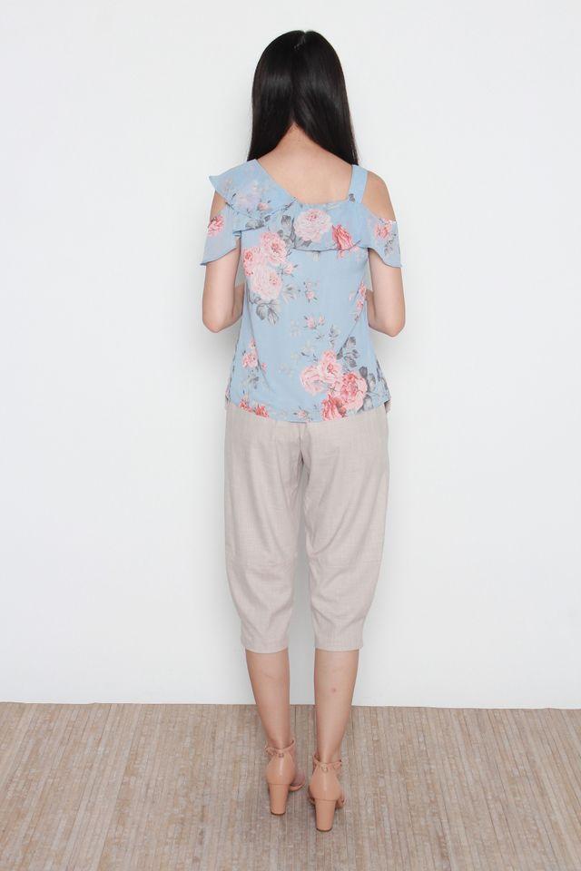 Ganni Cold Shoulder Floral Print Ruffled Top in Blue