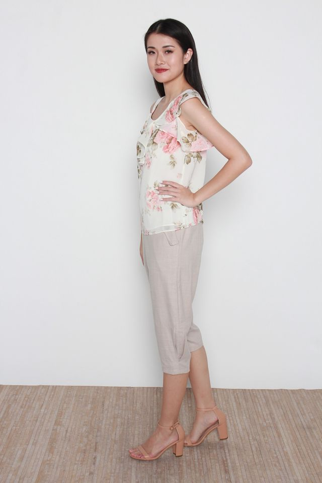 Ganni Cold Shoulder Floral Print Ruffled Top in Cream