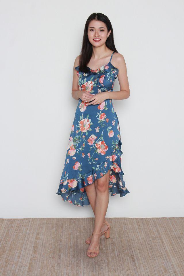 Miria Floral Maxi Dress in Blue