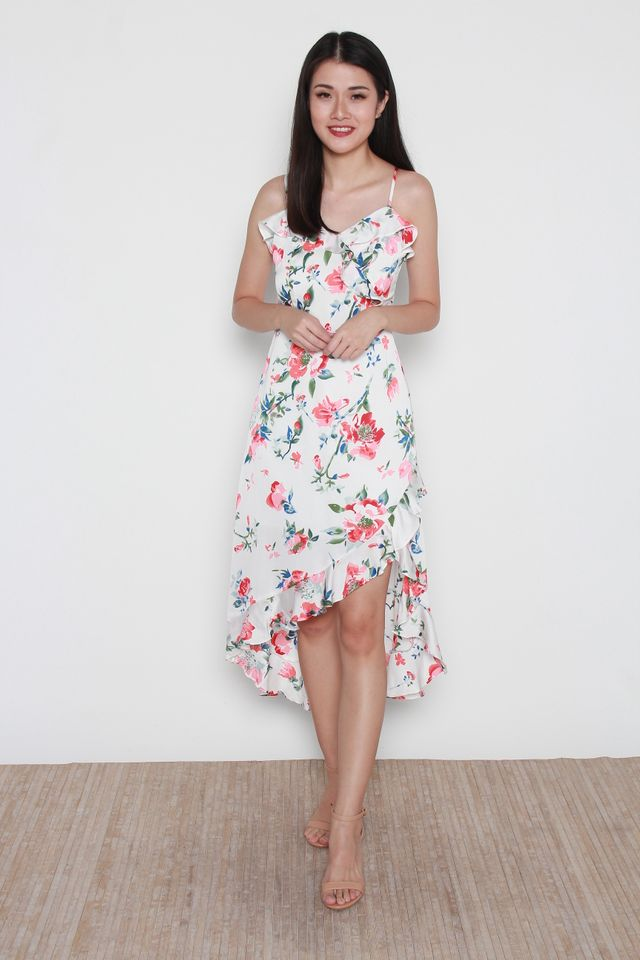 Miria Floral Maxi Dress in White
