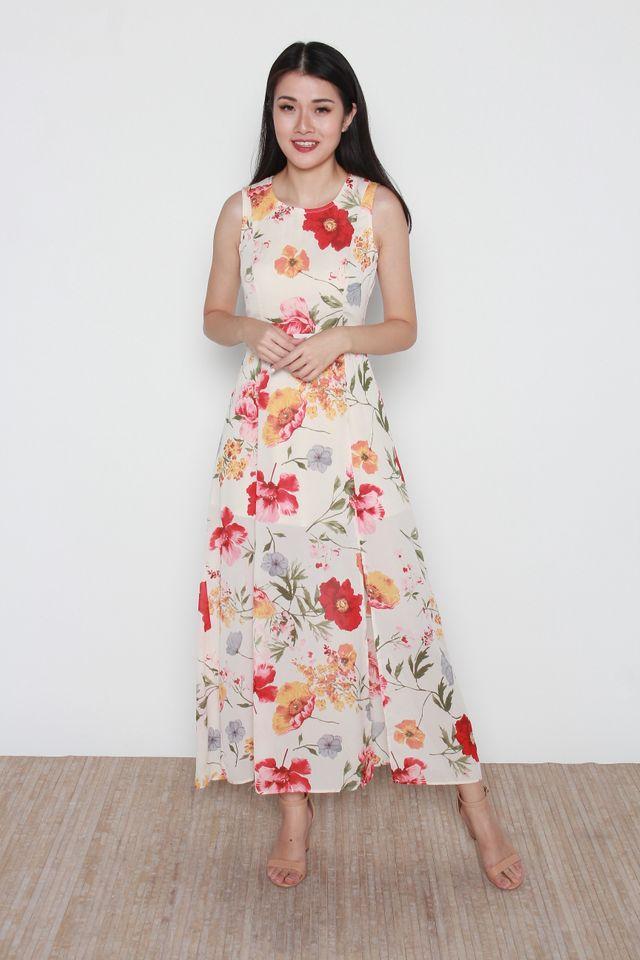 Leain Floral Maxi Dress in Cream