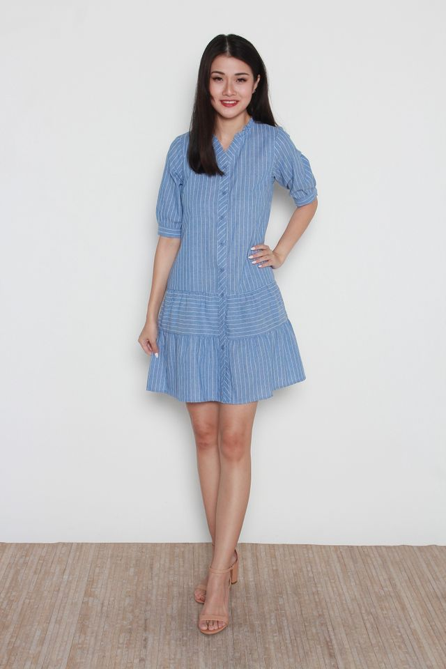 Jolie Soft Denim Ruffle Hem Striped Dress