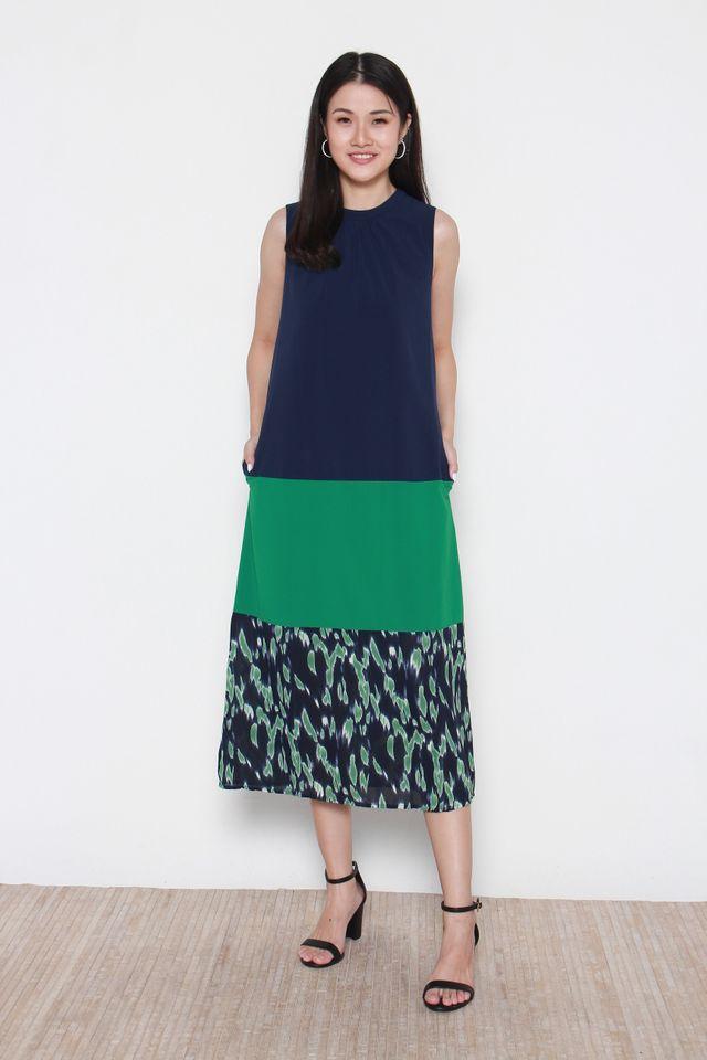 Mallory Sleeveless Colorblock Tiered Midi Dress in Green
