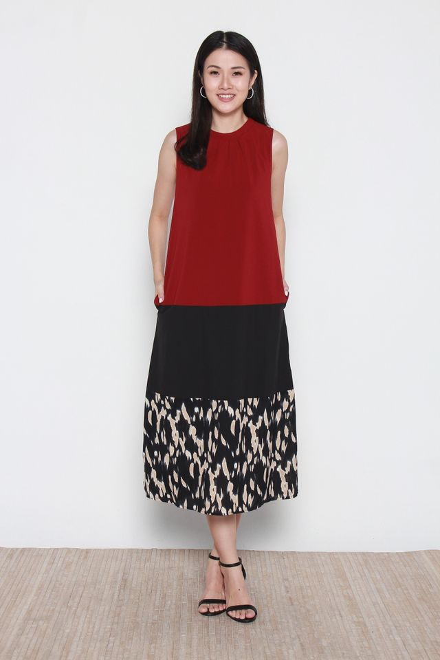 Mallory Sleeveless Colorblock Tiered Midi Dress in Red