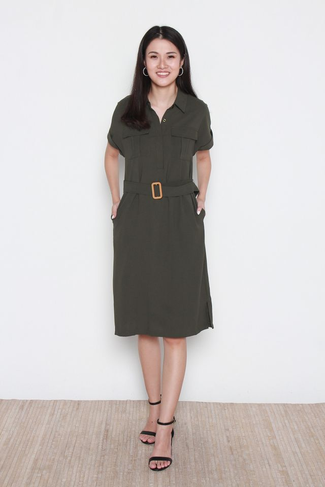 Bellamy Slit Hem Button Front Shirt Dress in Forest Green