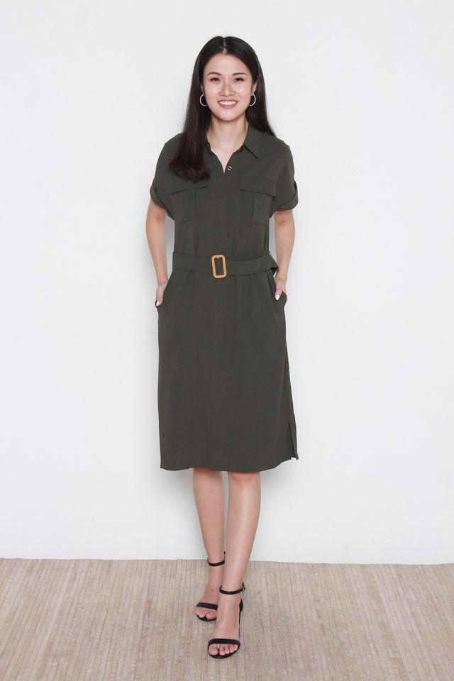 Bellamy Slit Hem Button Front Shirt Dress in Forest Green