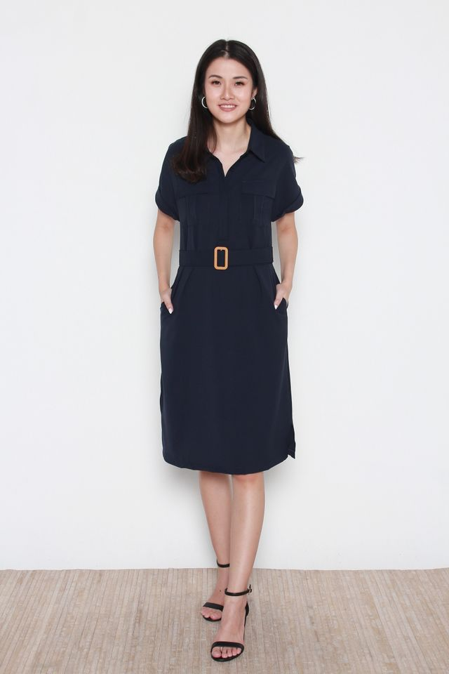 Bellamy Slit Hem Button Front Shirt Dress in Navy Blue