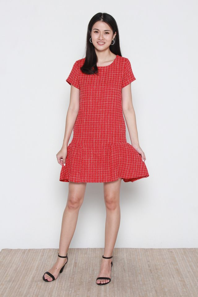 Martine Tweed Flutter Hem Dress in Red