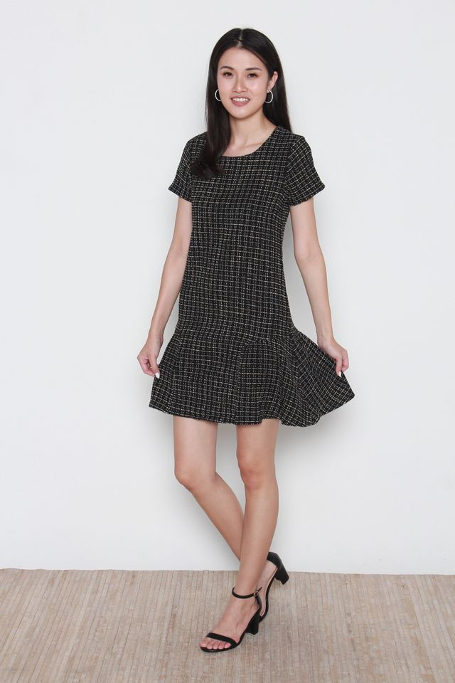 Martine Tweed Flutter Hem Dress in Black