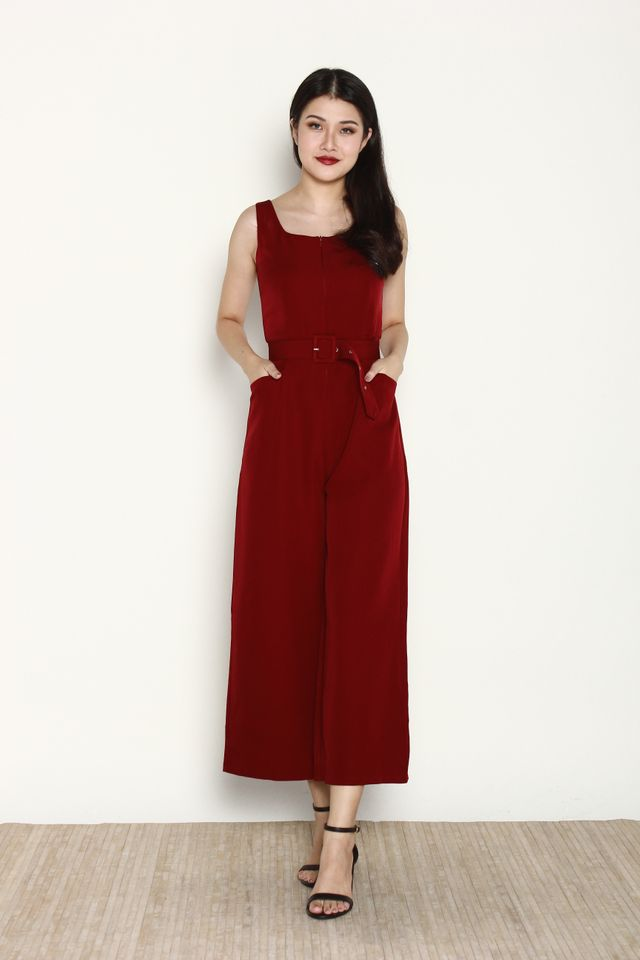 Ballari Front Zip Jumpsuit in Wine Red