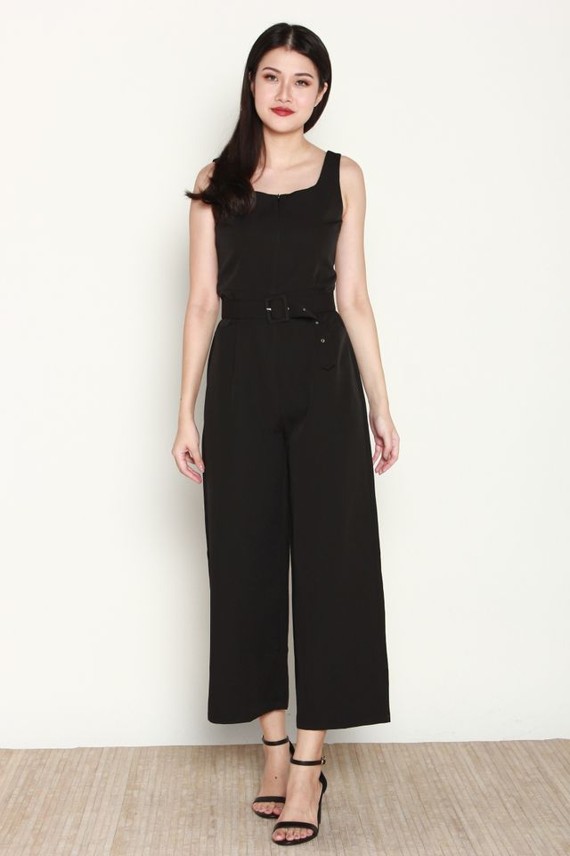 Ballari Front Zip Jumpsuit in Black