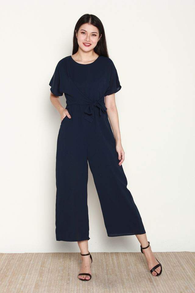 Vaness Basic Side Tie Jumpsuit in Navy Blue