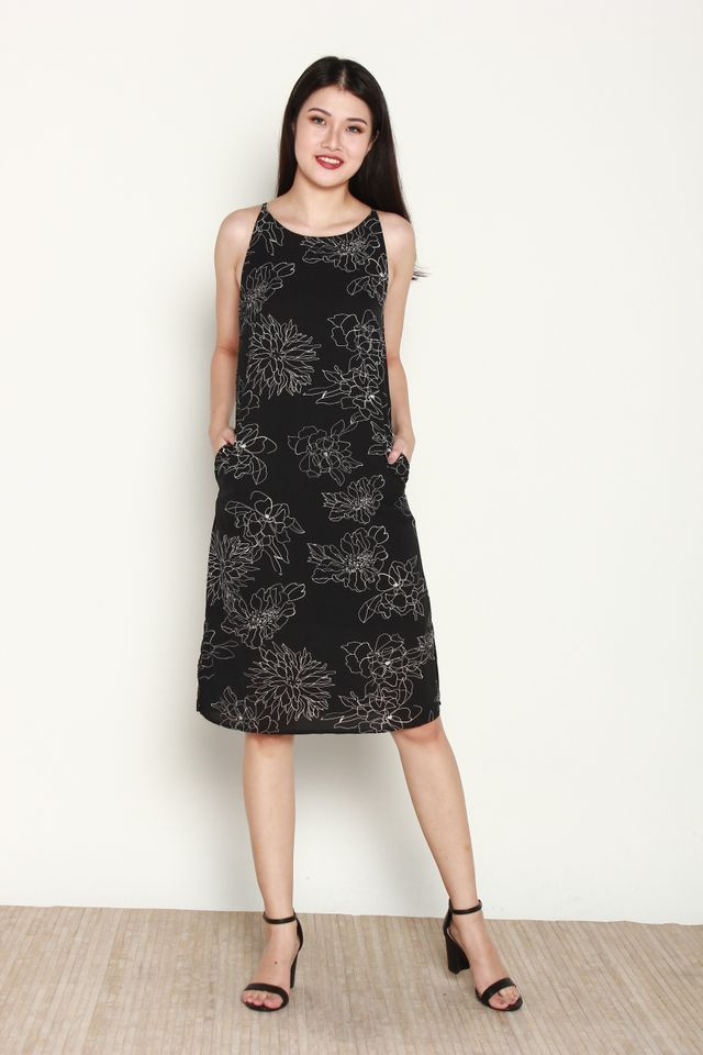 Variel Halter Floral Slit Dress in Black