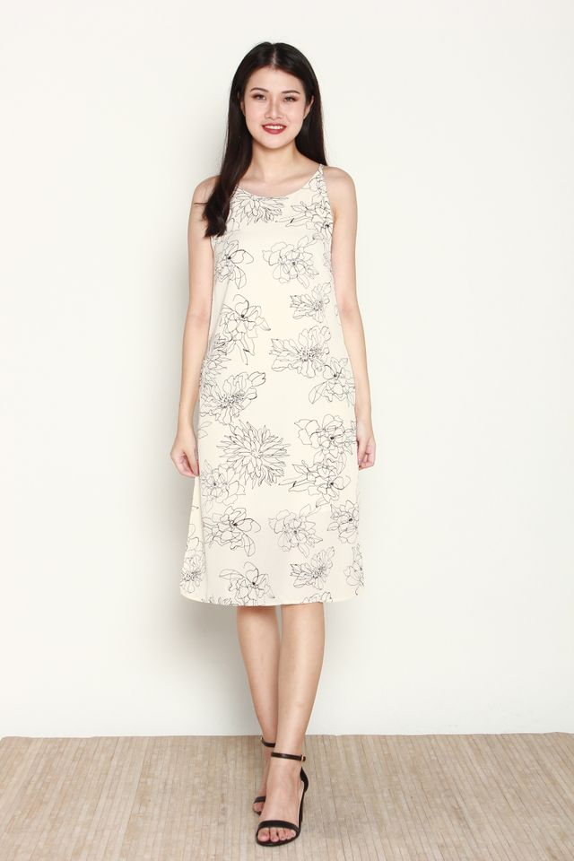 Variel Halter Floral Slit Dress in White