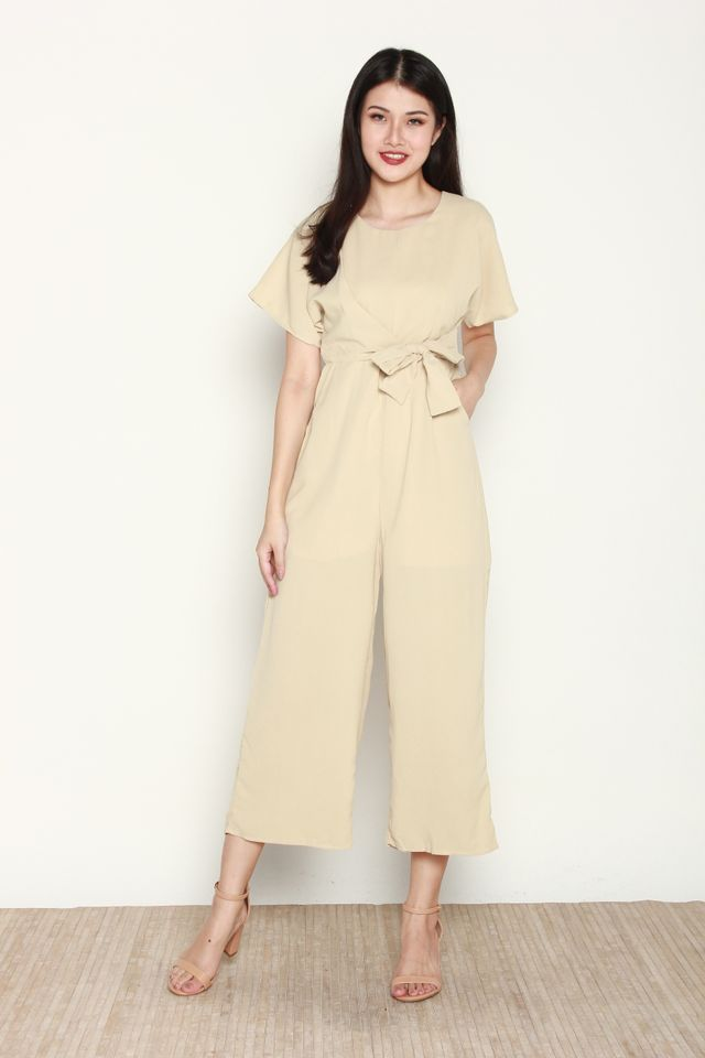 Vaness Basic Side Tie Jumpsuit in Beige