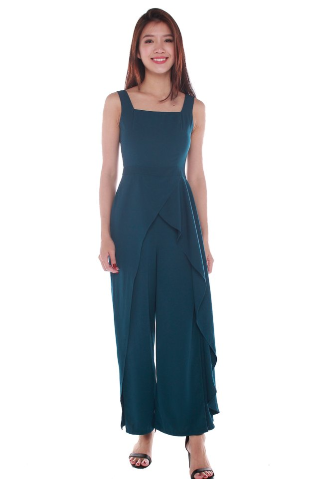 Tessa Ruffled Jumpsuit in Forest Green