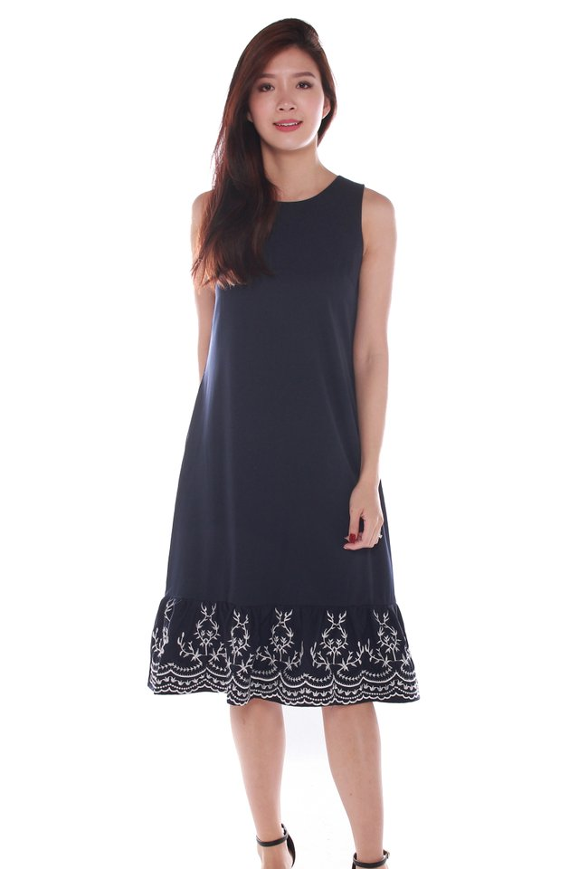 Clare Sleeveless Embroidery Midi Dress in Dark Blue