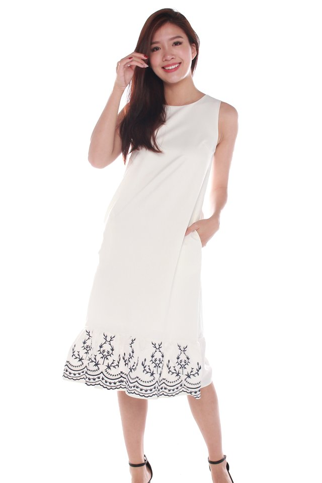 Clare Sleeveless Embroidery Midi Dress in White