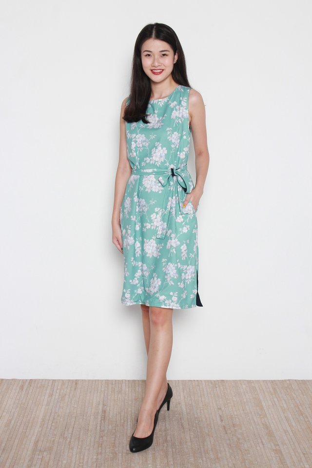 Cataleya Floral Reversible Trapeze Midi Dress in Mint