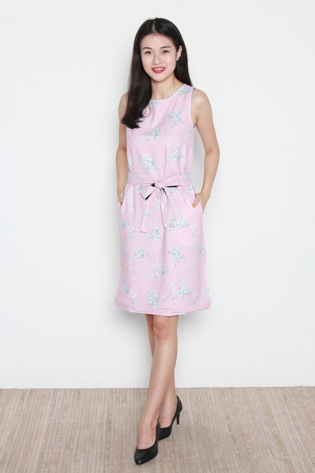 Cataleya Floral Reversible Trapeze Midi Dress in Pink