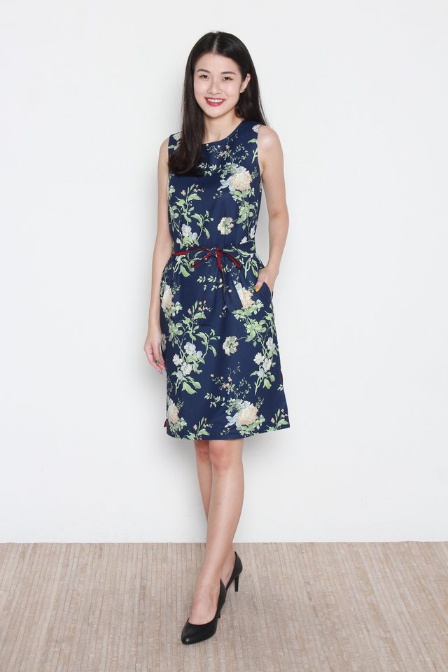 Camila Floral Reversible Slit Dress in Navy Blue