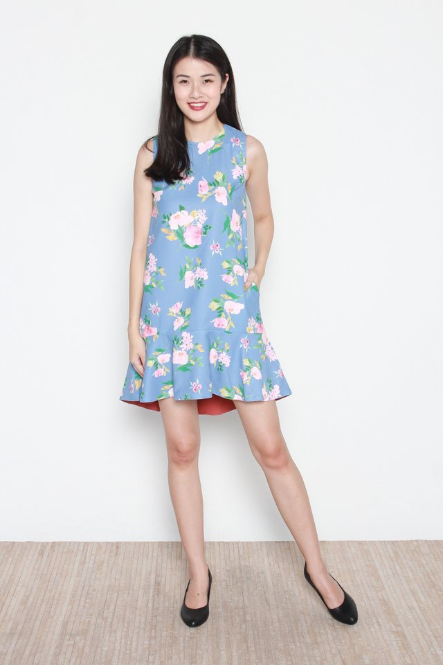 Alaia Floral Abstract Reversible Hi-Lo Gathered Hem Dress in Blue