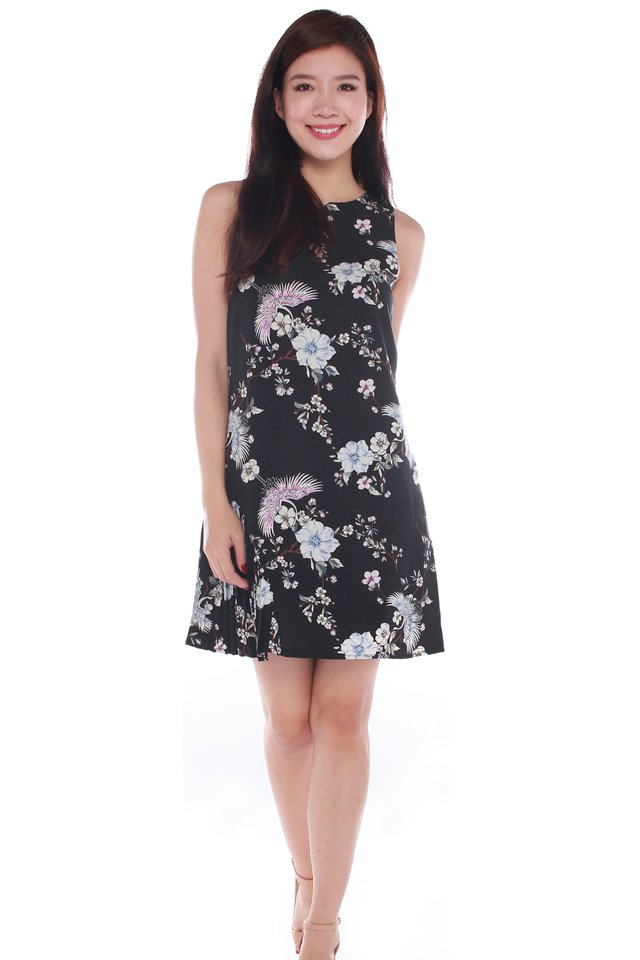 Zoey Floral Printed Sleeveless Mini Dress in Black