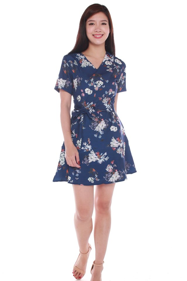 Aurora Floral Printed Ruffle Dress in Navy Blue