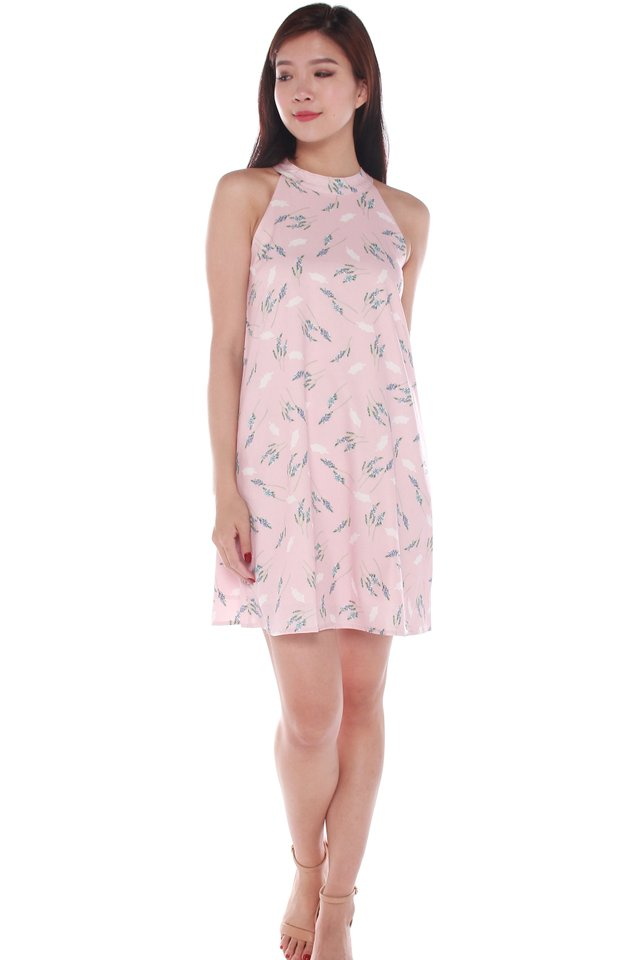 Gabriella Floral Halter Dress in Pink