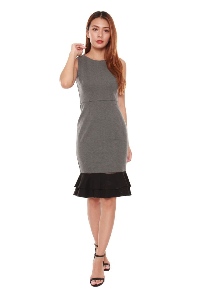 Chana Trumpet Colorblock Dress in Grey