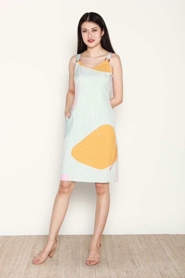 Lovise Abstract Print with Ring Dress in Mint/Mustard