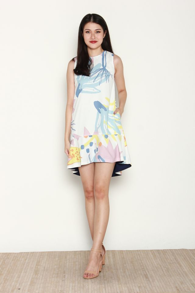Belva Reversible Abstract Mermaid Dress in White