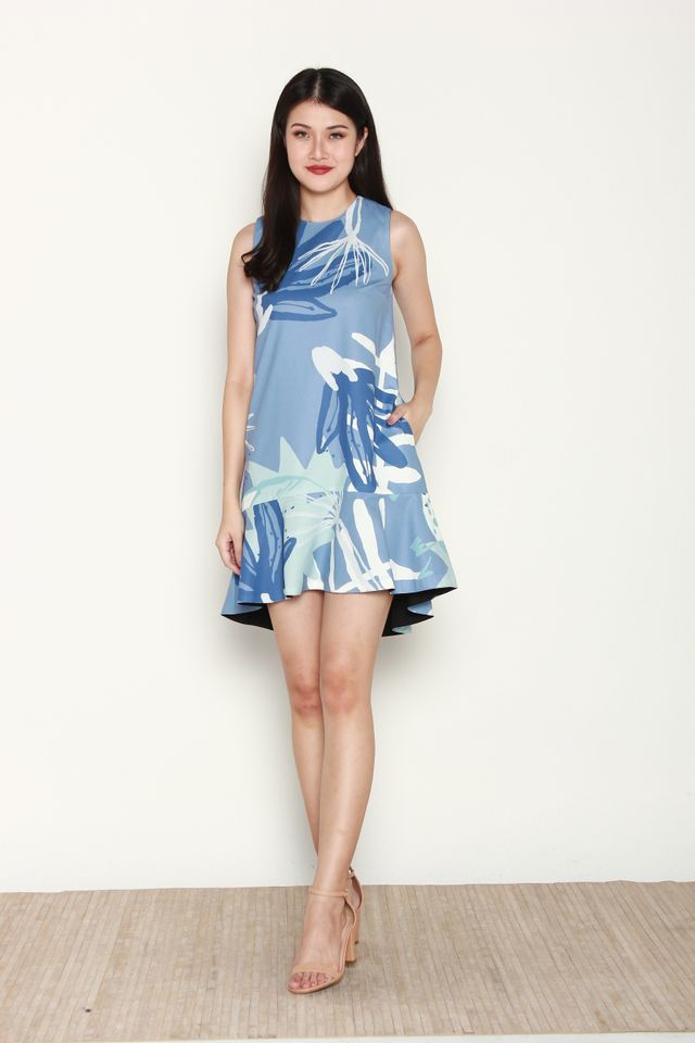 Belva Reversible Abstract Mermaid Dress in Blue
