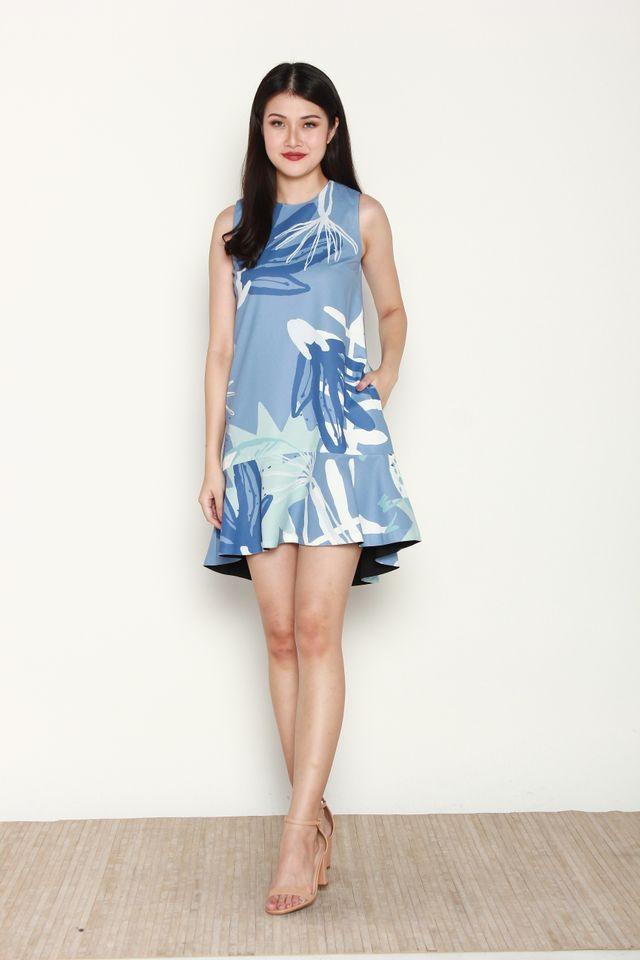 Belva Reversible Abstract Mermaid Dress in Blue