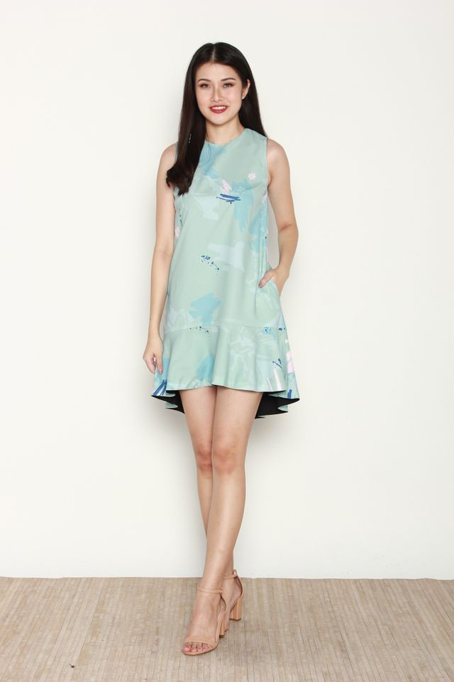Tilly Reversible Abstract Hi-Low Dress in Mint