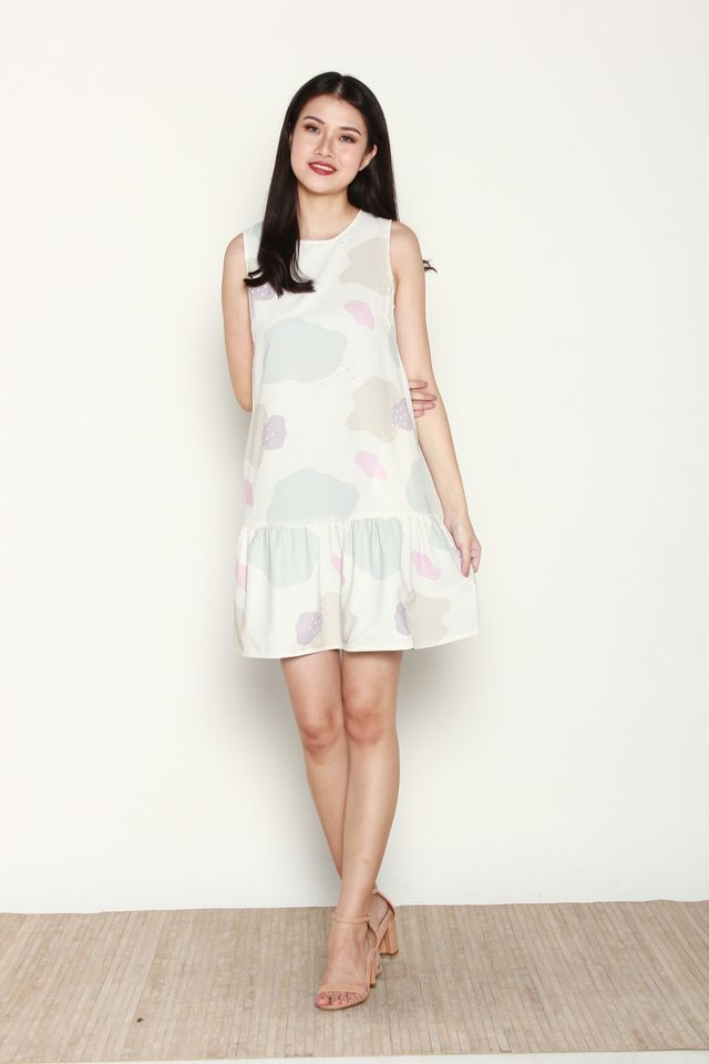 Carlyn Reversible Flutter Hem Dress in White Pastel