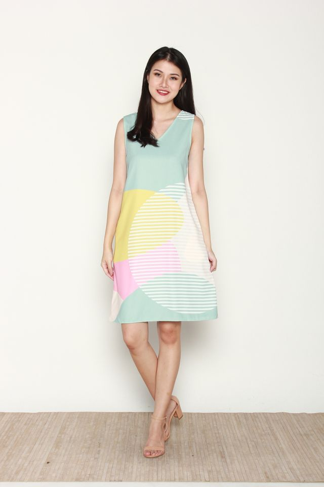 Phylis Reversible Abstract Midi Two-ways Dress in Yellow