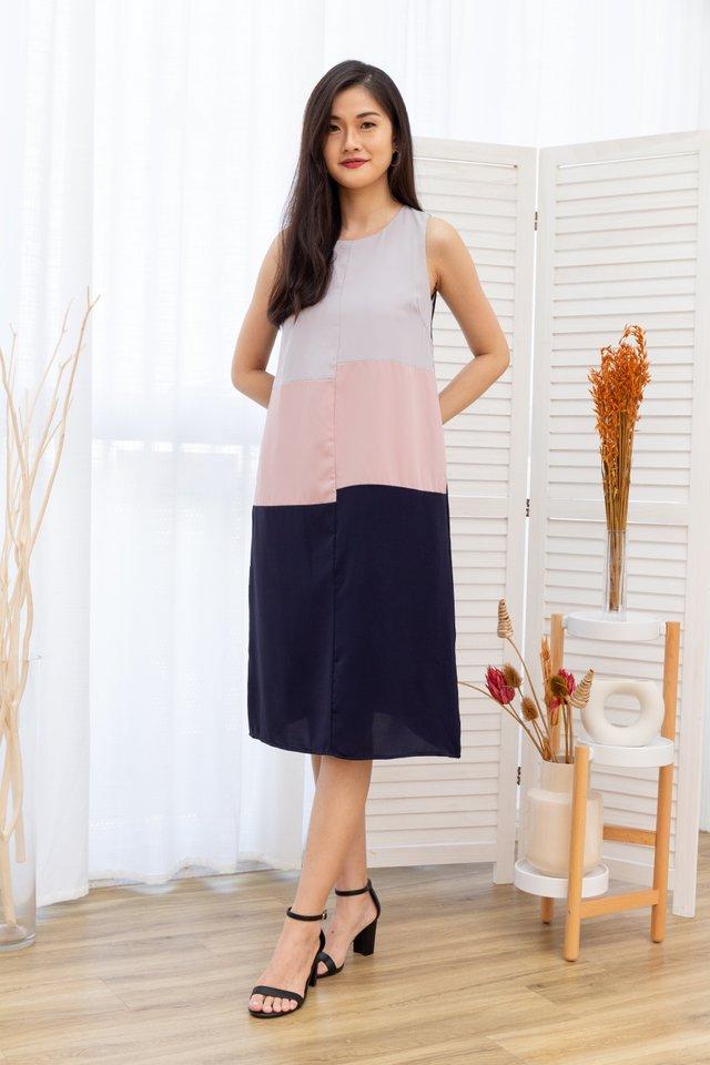 Sally Sleeveless Tiered Colorblock Midi Dress in Navy Blue
