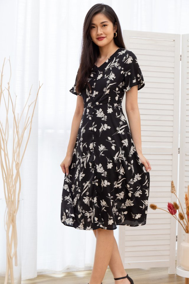 Rachele Floral Button Front Midi Dress in Black