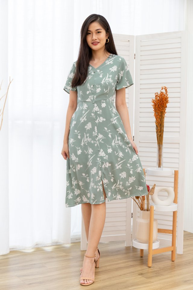 Rachele Floral Button Front Midi Dress in Mint