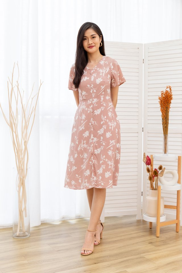 Rachele Floral Button Front Midi Dress in Pink